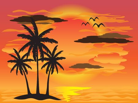Palm tree summer sunset background Vector