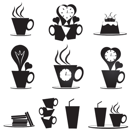 Creative coffee cup icons Vector
