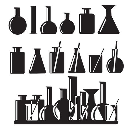 probeta: Conjunto de equipos de laboratorio iconos ilustración