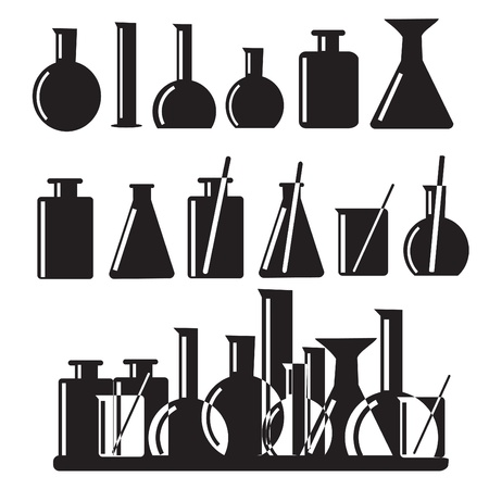 Set of laboratory equipment icons illustration Vector