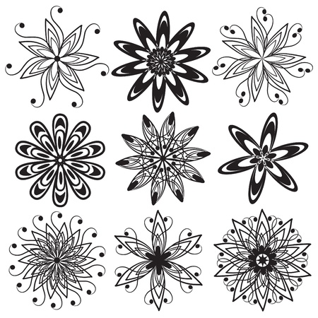 Set of abstract floral icons illustration Stock Vector - 21961697