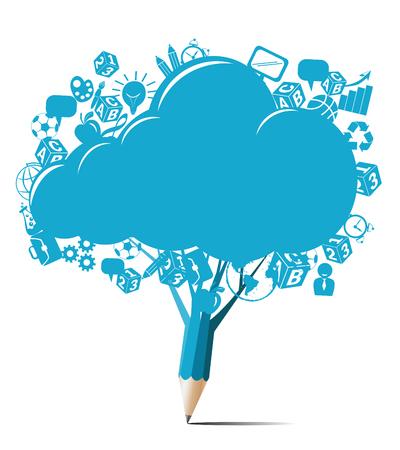 Diseño creativo con el lápiz azul nube vector en blanco