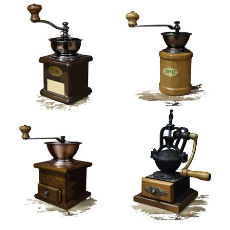 coffee grinder: Vintage style of old coffee grinder vector icons