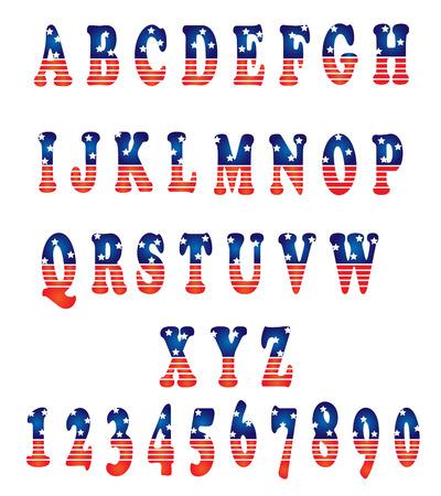 Vector alfabet set Amerikaanse stijl Stock Illustratie