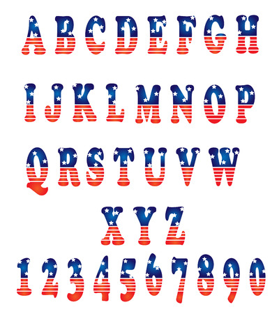 english: Vector alphabet set american style