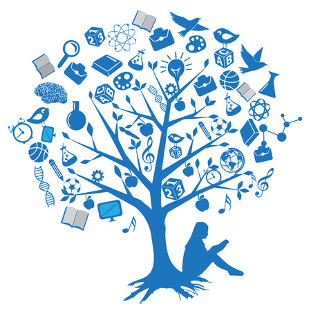 Tree education designs with symbols Vector