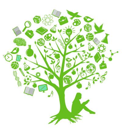 Tree education designs with green symbols Vector