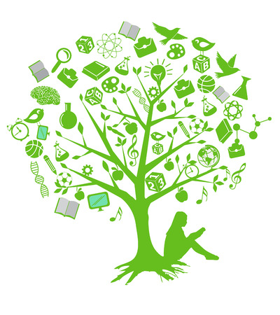 alphabet tree: Tree education designs with green symbols