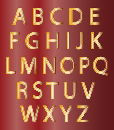 gold alphabet: Set of gold alphabet designs symbols on red background