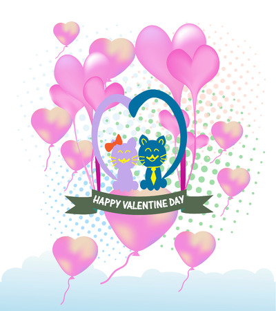 Cats cartoon Illustration of a Valentines Day Vector