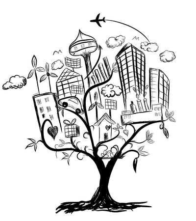 Tree of city life illustration pencil drawing Stock Vector - 36805565