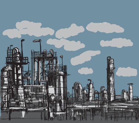 Petrochemical plant drawing by pencil illustration vector