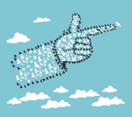 Mano ilustración abstracta por Aves concepto de liderazgo Ilustración de vector