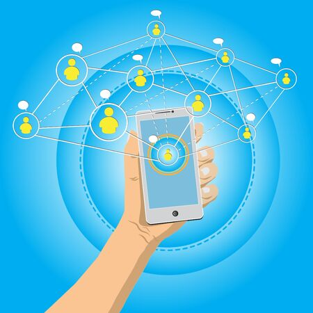 Hand holding mobile phone with connection social media conceptvector