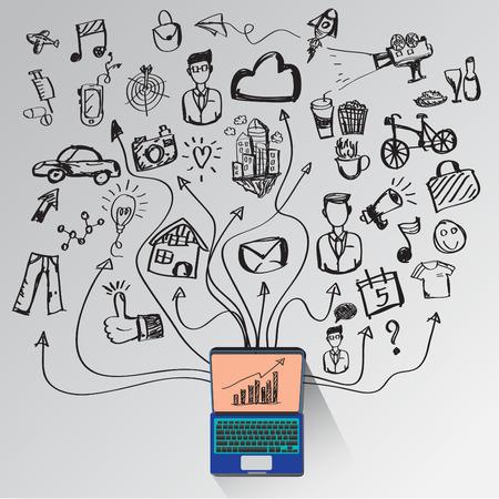 Concept de communication par des symboles de vie ordinateur et illustrations