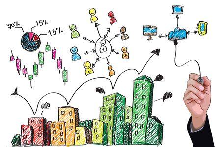 Gráfico de la mano abstracta del edificio con la red de comercialización conceptvector