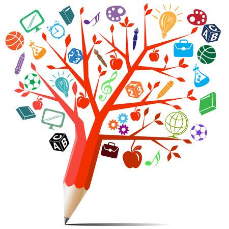 教育: 紅蘋果樹鉛筆回學校的概念 向量圖像