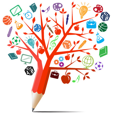 knowledge tree: Red apple tree pencil with back to school concept