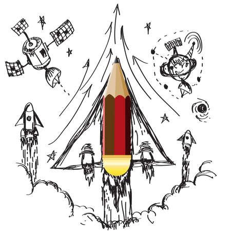 to imagine: Imagine of pencil idea spaceship illustration vector Illustration