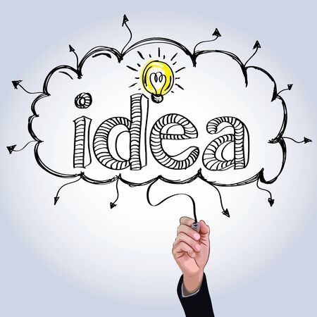 quick drawing: Hand drawing idea with light bulb in cloud illustration vector