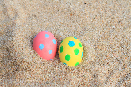ester day beautiful pink egg on beach
