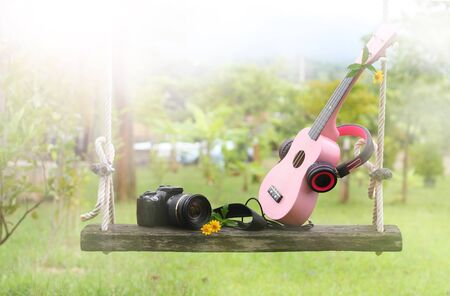 yellow: sweet pink headphones, ukulele music, camera on wooden swing and green grass background Stock Photo