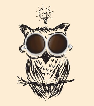 owl illustration: coffee owl business drawn icon symbol vector idea isolated