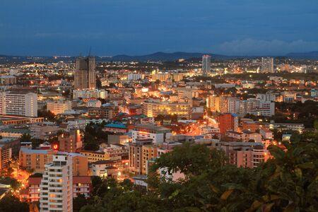 landscape  pattaya city Thailand landmark on twilight background. Stock Photo