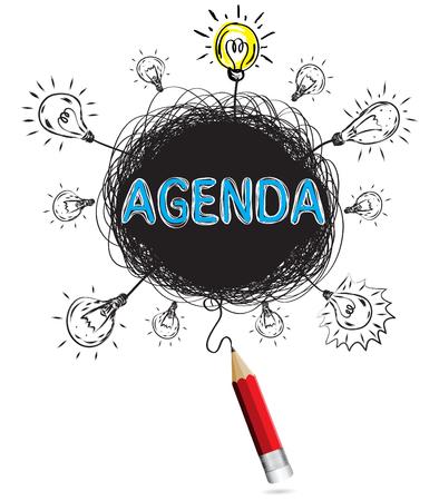 Crayon rouge idée concept agenda ordre du jour illustration créative vecteur isolé.
