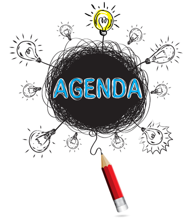 Red pencil idea concept agenda business creative illustration vector isolated.