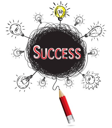 red pencil idea concept red success business creative illustration vector  isolated.