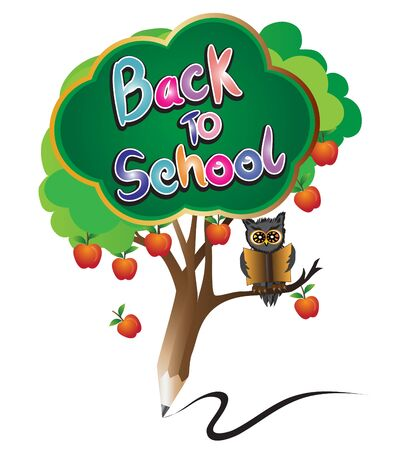 tree of knowledge: pencil back to school education by green apple tree  and owl read a book on white isolate background.