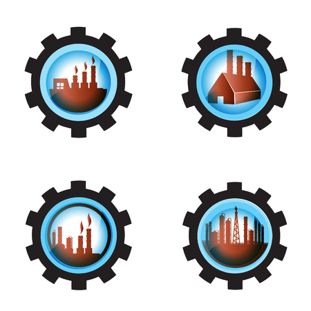 Gear blue Industrial petrochemical factory icon set on white isolate background. Illustration