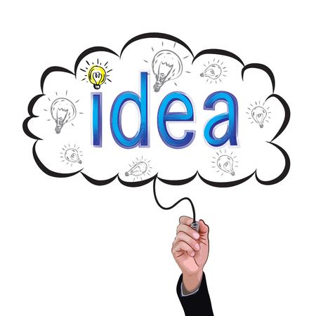 hand isolate pencil idea  write blue idea business and education illustration vector concept. Illustration