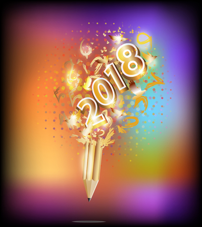 2018 happy new year holiday by pencil idea ,colorful calendar Illustration