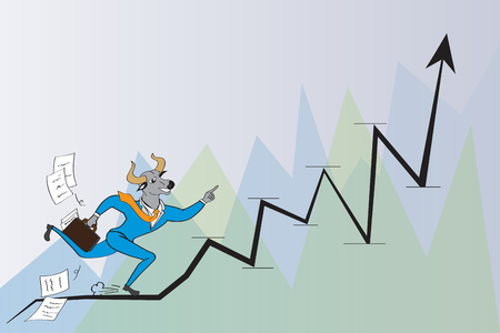 Bull head Businessman are running to success Illustration
