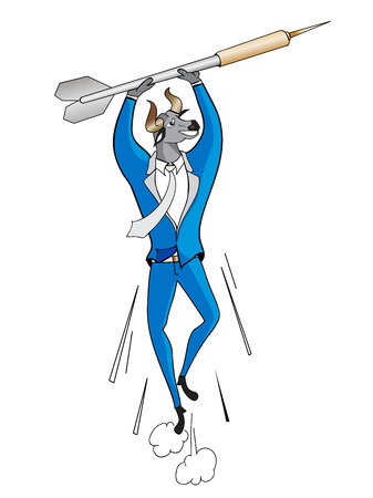 Successful Bull head Businessman Goal business concept icon vector illustration.Business man flying for shoot arrow.
