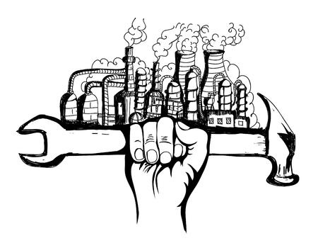 Handzeichnung Hammergriff petrochemische Industrie Konzeptvektor Vektorgrafik