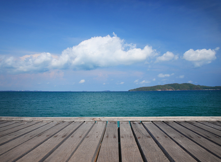 Relax time wooden floor and beautiful sea background in Thailand