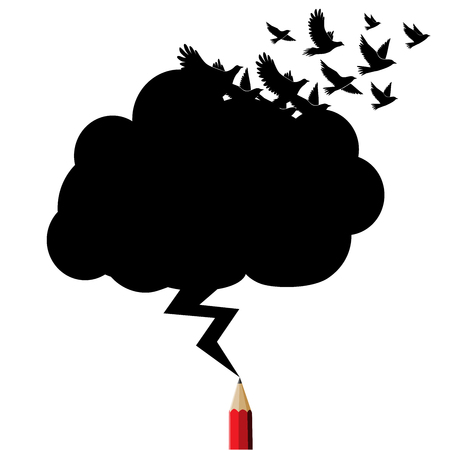 Birds black cloud and lightning drawing by red pencil with education and business icons concept.Creative Red pencil idea theme.Cloud copy space for text Education and Business theme.