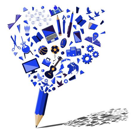 Blue pencil breaking with education and business symbols concept. Creative splash Blue pencil idea theme.