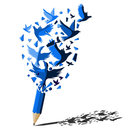Blue pencil with birds freedom concept.Bird attack to break the wall for freedom.Creative splash Blue pencil idea theme. Ilustração