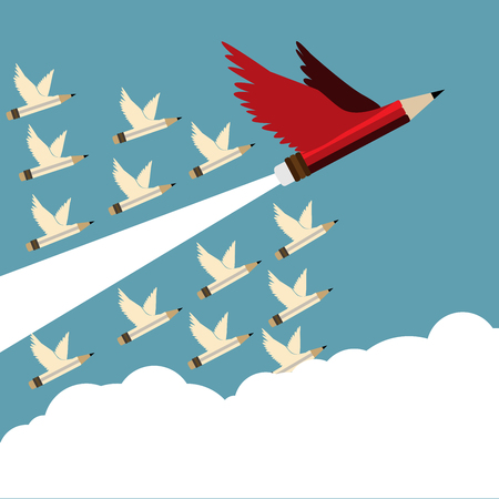 Leadership concept.Red pencil and follower with wing flying to sky oblique to the right.Cloud copy space and Leadership Red pencil business concept vector. Illustration