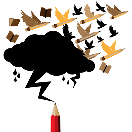 Pencil flying concept idea.Black cloud and lightning drawing by red pencil with education and business icons concept.Cloud copy space for text Education and Business theme. Illustration