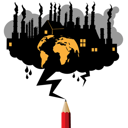 Pollution industrial concept.Black cloud and lightning drawing by red pencil concept.Cloud copy space for text Education and industrial theme.