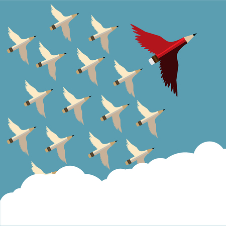 Leadership concept.Red pencil and follower with wing flying to sky oblique to the right.Cloud copy space and Leadership Red pencil business concept vector. Ilustração