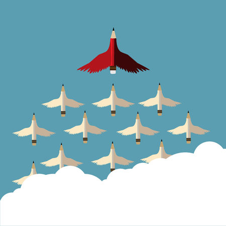 Leadership concept.Red pencil and follower with wing flying to sky.Cloud copy space and Leadership Red pencil business concept vector.