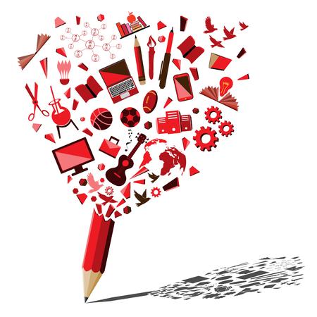 Matita rossa che si rompe con il concetto di simboli di istruzione e affari. Tema di idea di matita rossa splash creativo. Vettoriali