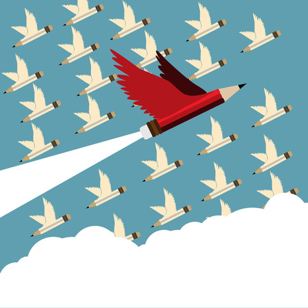 Different Leadership concept. Red pencil different Leadership and follower with wing flying to sky.Cloud copy space and Leadership Red pencil business concept vector. Ilustração
