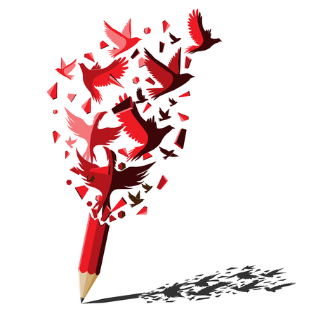 Red pencil with birds freedom concept.Birds attack to break the wall for freedom.Creative splash red pencil idea theme.